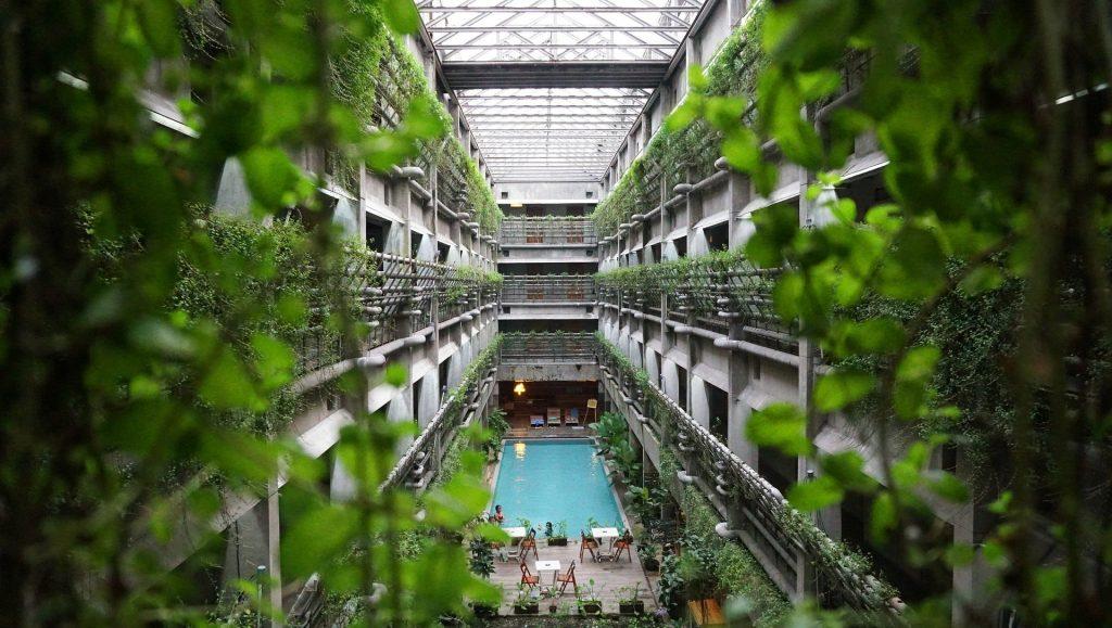 Eco-friendly travel hotel