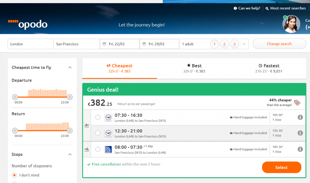 Opodo - Book your flights from the desktop
