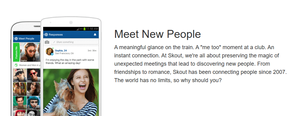 Dating and meeting travel app: skout.com - connecting people, friendship and romance