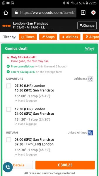 Opodo - Book your flights from the desktop it is cheaper than booking from the mobile