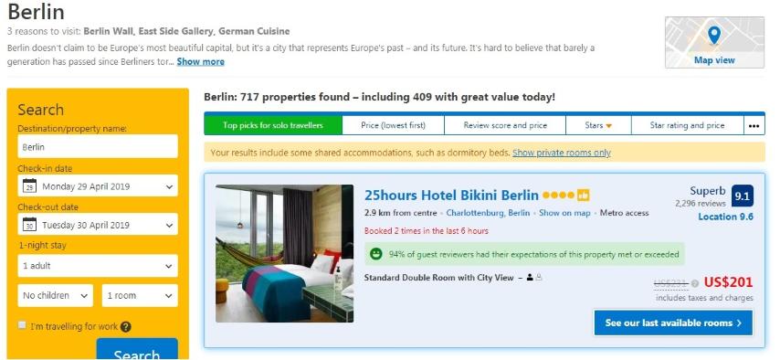 source: booking.com, screenshot shows price of 25hours Hotel bikini Berlin