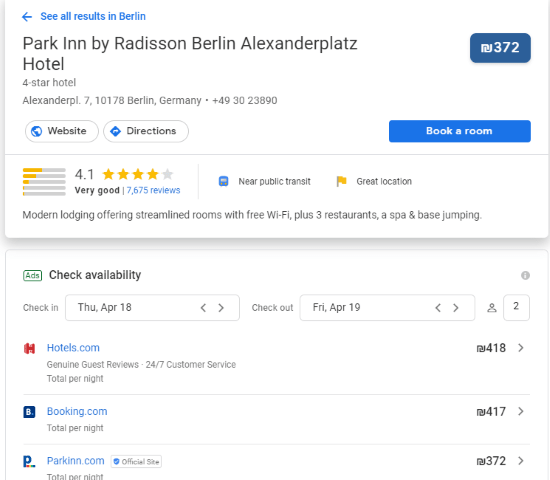 source: google metasearch - the best comparison hotel price tool online