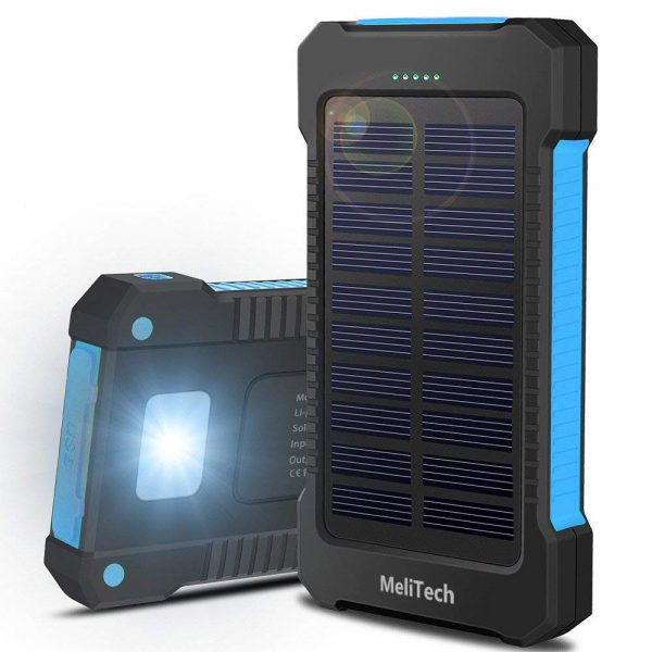 Solar Power-Gadget For Camping: Portable Solar Charger Waterproof Cell Phone Power Bank