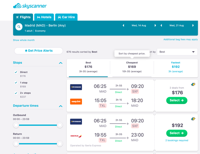 Source: Skyscanner – A screenshot showing the wide range of option from traditional airlines and low-cost airlines