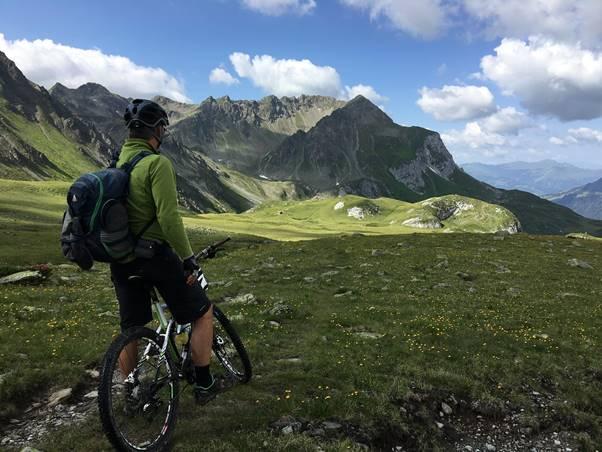Great mountain bike trails at Graubunden, Switzerland