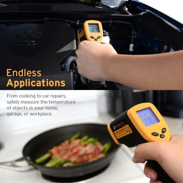 Etekcity Infrared Thermometer 774 (Not for Human) Temperature Gun Non-Contact Digital Laser Thermometer-58℉ to 716℉ (-50 to 380℃), Standard Size, Yellow...