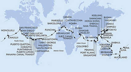 The MSC 2023 World Cruise will span six continents, 53 destinations, and 33 countries over 119 days (Infographic: MSC)